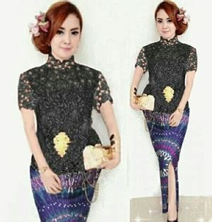 Batik Modern Hitam Kebaya setelan baju kebaya brukat dan rok batik cantik modis modern model terbaru