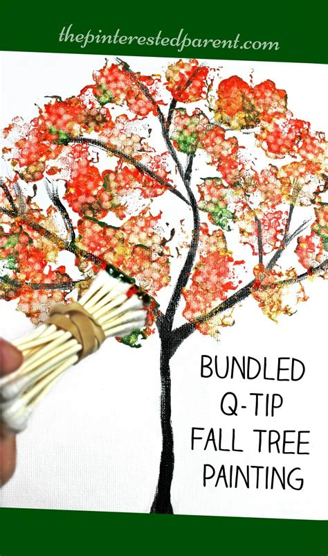 tree craft ideas fall tree painted with bundled q tips autumn arts