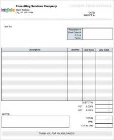 consulting invoice template consulting invoice sle 8 exle format