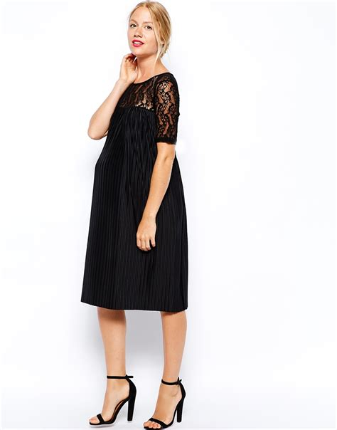 maternity swing dress asos maternity exclusive pleated swing dress in lace in