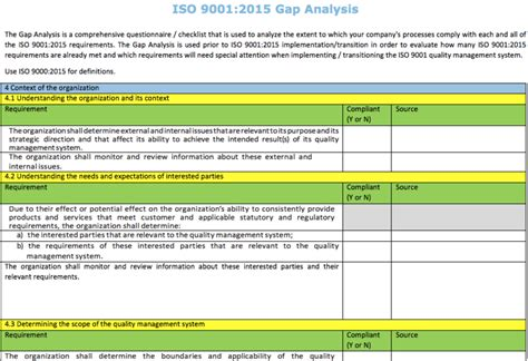 iso gap analysis template iso 9001 2015 gap analysis form iqc the iso professionals
