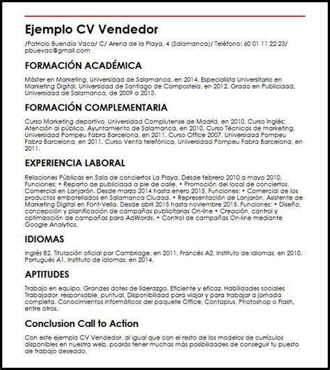 Modelo Curriculum Vitae Para Vendedores Ejemplo Cv Vendedor Micvideal