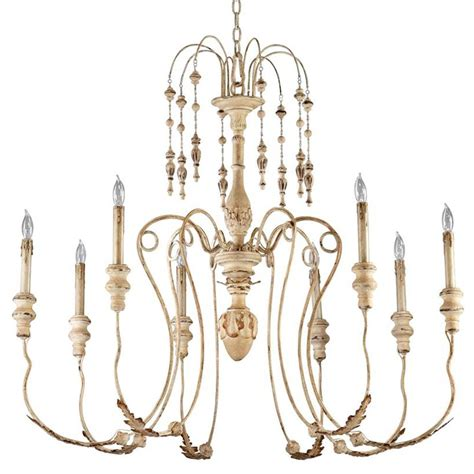Maison French Country Antique White 8 Light Chandelier Country Chandelier Lighting