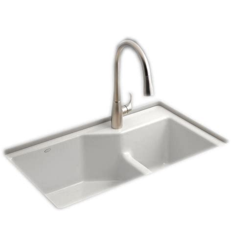 kohler white kitchen faucet kohler indio smart divide undermount cast iron 33 in 1 bowl kitchen sink kit in