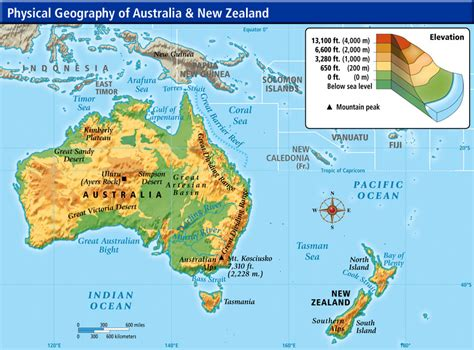 physical map of australia and new zealand world cultures maps
