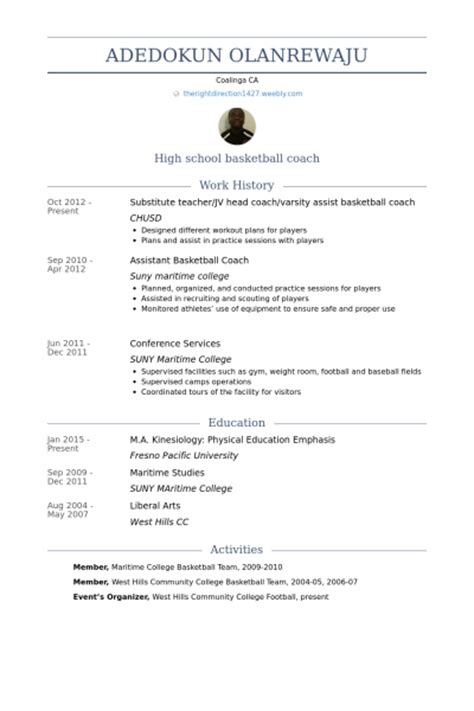 basketball coach resume coach resume sles visualcv resume sles database