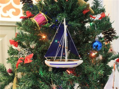 sailing boat ornament buy wooden blue sailboat with blue sails christmas tree