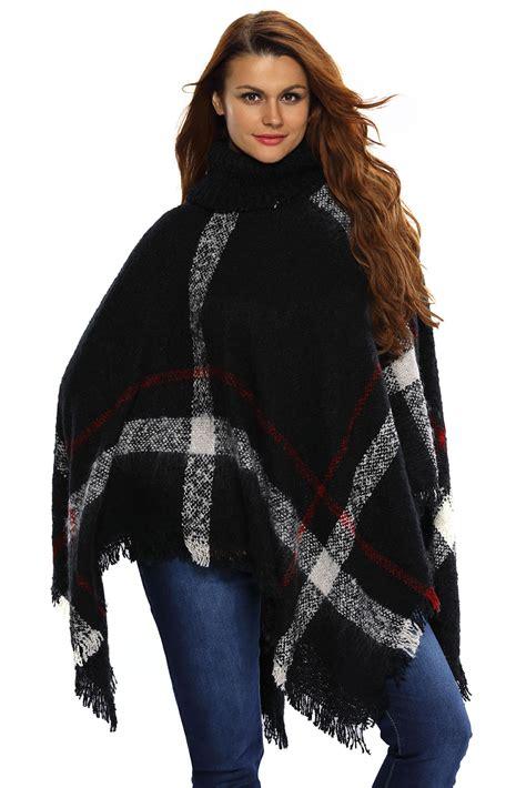 Turtleneck Tassel Sweater black turtleneck tassel cape sweater for