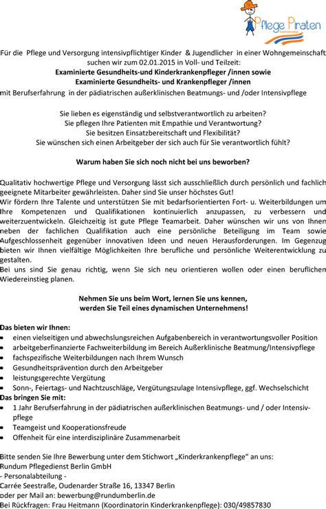 Lebenslauf Vorlage Gesundheits Und Krankenpflege Stellenangebot Gesundheits Und Kinderkrankenpfleger Innen In Berlin
