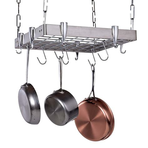 Hanging Pan Racks by Stainless Steel Square Hanging Pot Rack Pot Racks At