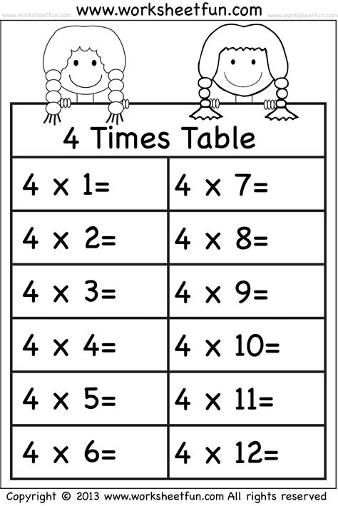 4 times table worksheet times tables worksheets 2 3 4 5 6 7 8 9 10 11