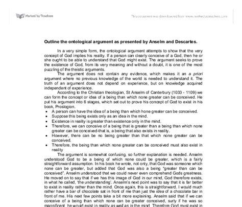 Ontological Argument Anselm Essay by Outline The Ontological Argument As Presented By Anselm And Descartes A Level Religious