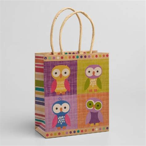 Patchwork Gifts - small patchwork owls gift bags set of 3 world market