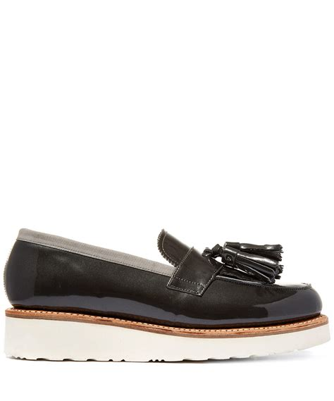 black wedge loafers foot the coacher black clara patent leather wedge loafers