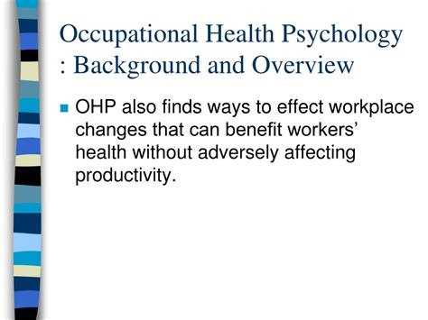 Occupational Health Psychology ppt occupational health psychology powerpoint