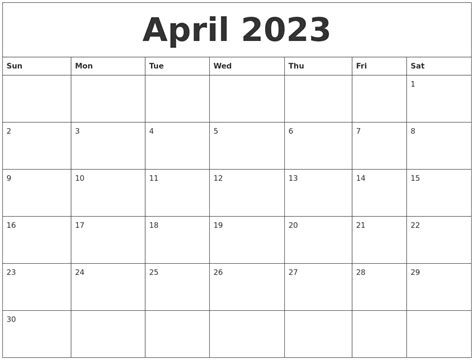 April 2023 Blank Monthly Calendar Template