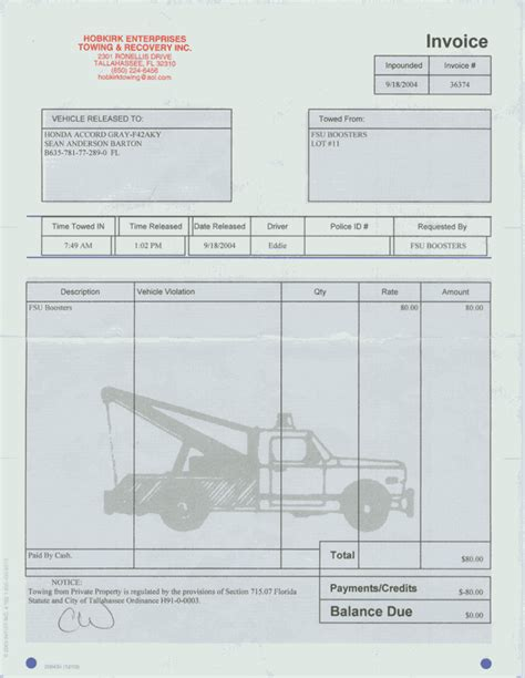 tow truck receipt template tow invoice studio design gallery best design