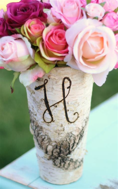 Monogrammed Vases by Personalized Monogrammed Birch Wood Vase By Braggingbags