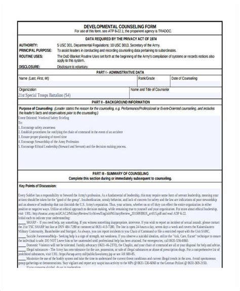 initial counseling template army counseling form exles initial jose