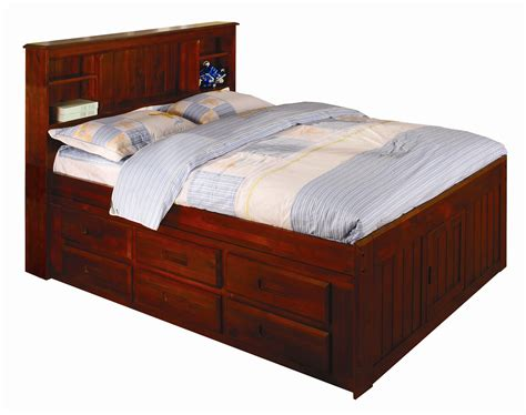captains bed with bookcase headboard discovery world furniture merlot full captain beds kfs