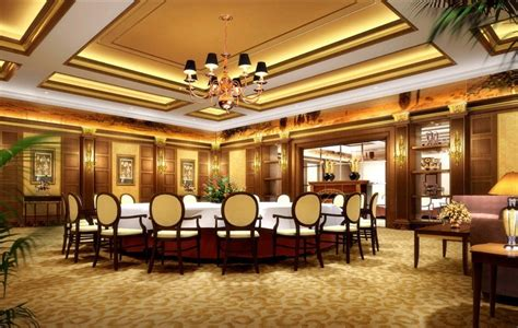 Large Dining Room China Luxury Dining Room With Large Table 3d House