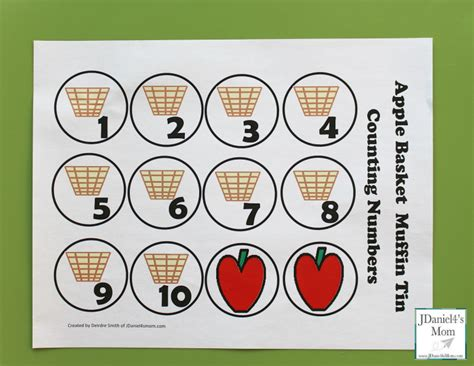 Apple Counting Worksheet by Free Counting Worksheets Apple Basket Muffin Tin Numbers