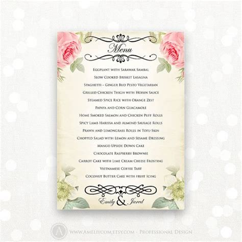 free editable menu templates printable wedding menu editable vintage floral instant