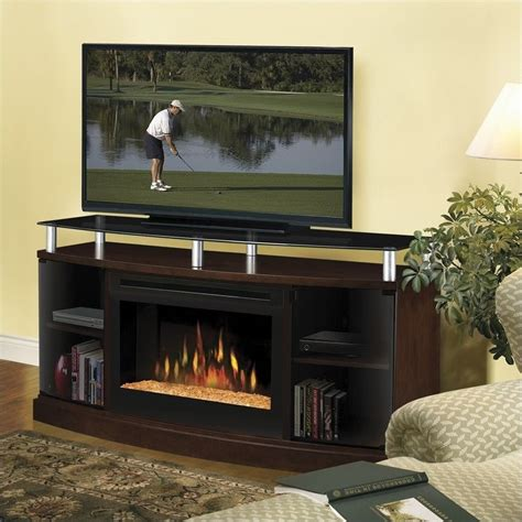 Electric Tv Fireplace Stand by Windham Flatpanel Tv Stand And Electric Fireplace In Mocha
