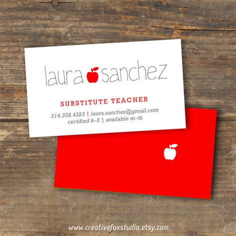 Educator Business Card Template by Or Substitute Business Card Applelicious Tutor
