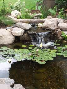 minnesota small backyard pond with a waterfall and a bog