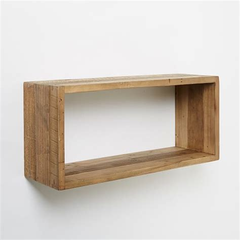 reclaimed pine floating box shelf west elm
