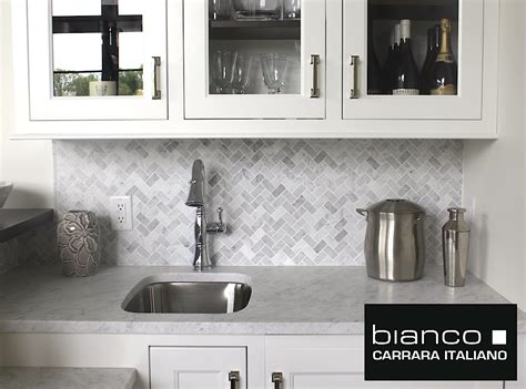 Kitchen Backsplashes Home Depot Carrara Bianco Herringbone Backsplash Mosaic Tile The