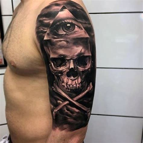 skull bones tattoo designs real photo like black and white pirate style skull with