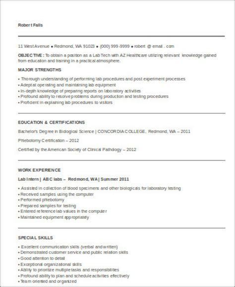 radiologic technologist resume sle lab tech resume sle resume for laboratory