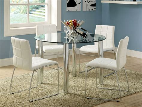 Dining Room Marvelous Round Glass White Dining Table With Glass Dining Table With White Leather Chairs
