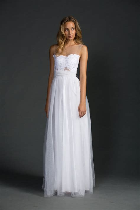White Casual Wedding Dresses by White Sleeveless Floral Applique A Line Floor Length Tulle