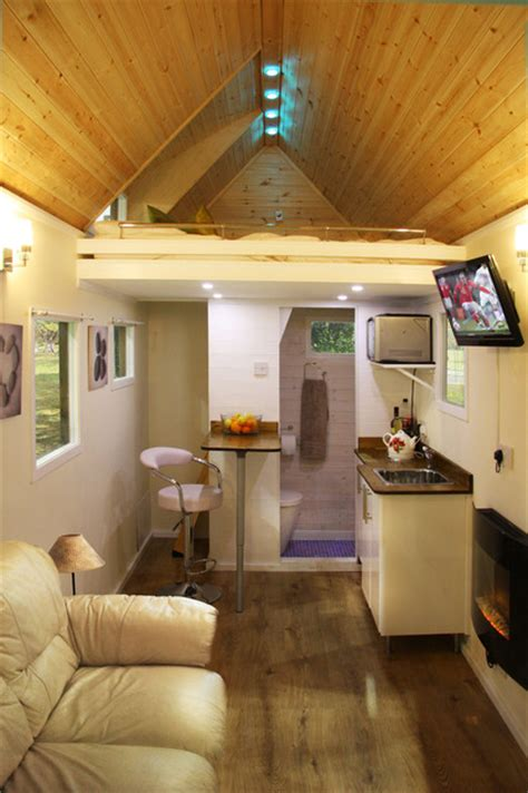 tiny house on wheels modern living room by