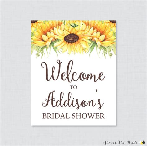 free printable bridal shower welcome sign sunflower bridal shower welcome sign printable rustic bridal