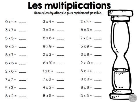 tables de multiplications exercices table de lit