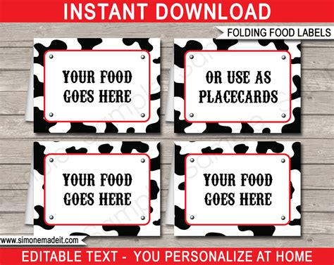 food cards for buffet template cowboy food labels place cards cowboy theme