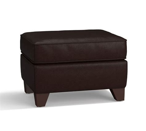 Small Leather Ottoman Cameron Small Leather Ottoman Pottery Barn