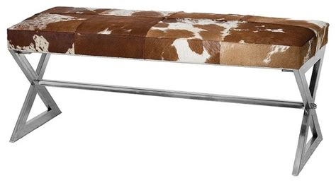 cow print bench remington cow hide bench tan and white eclectic