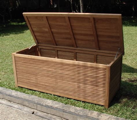 a grade teak 65 quot premium pool cushion storage box outdoor