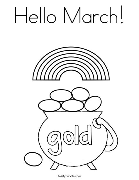 March Coloring Pages Hello March Coloring Page Twisty Noodle by March Coloring Pages
