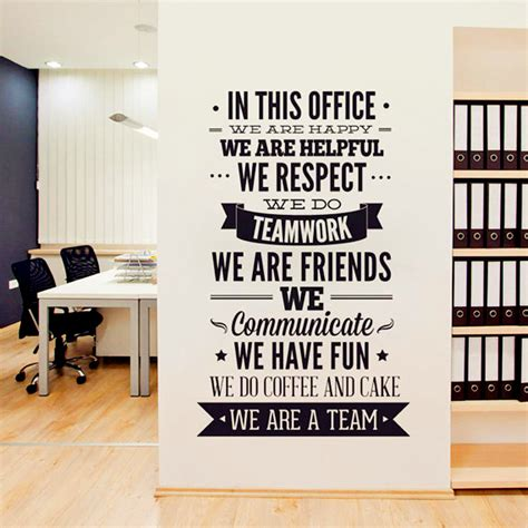 office wall decorations 2016 new fashion quotes wall sticker office vinyl decals quot we are a team quot increase team