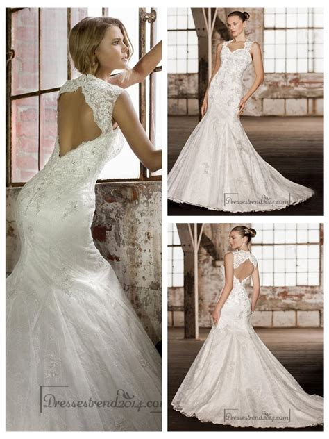 Wedding Hair For Keyhole Back Dress by Stunning Straps Trumpet Lace Wedding Dresses With Keyhole
