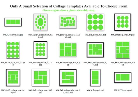 sles collages can be created with a template layout