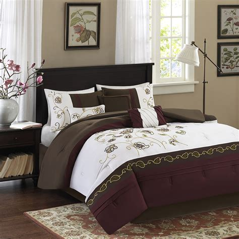 Beautiful White Comforter Sets by Beautiful Modern Chic Brown Maroon Green White
