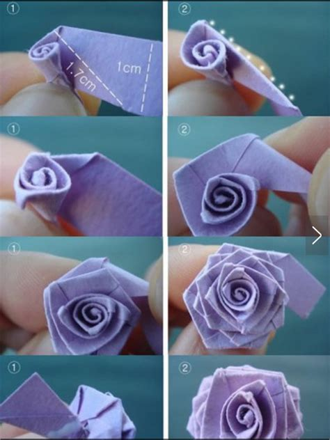 Origami Paper Roses - with paper origami method fit for
