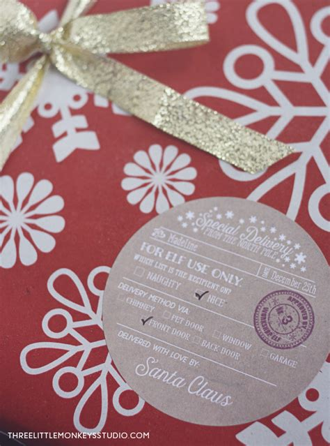 santas special delivery gift label tags  printable labels templates label design